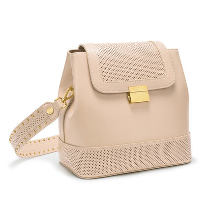 On The Dot Leather Backpack Shoulder Bag, Beige, hires