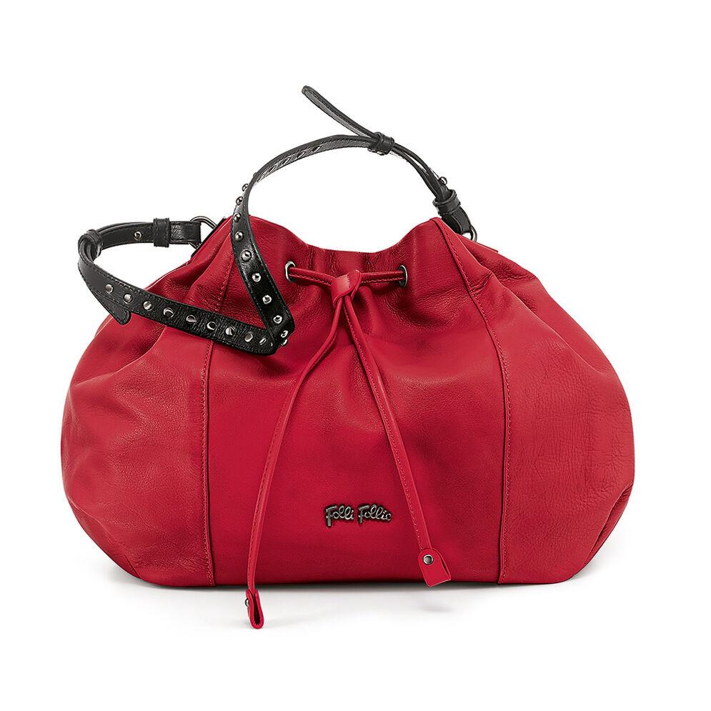 Brisk Large Leather Bucket Shoulder Bag, Red, hires