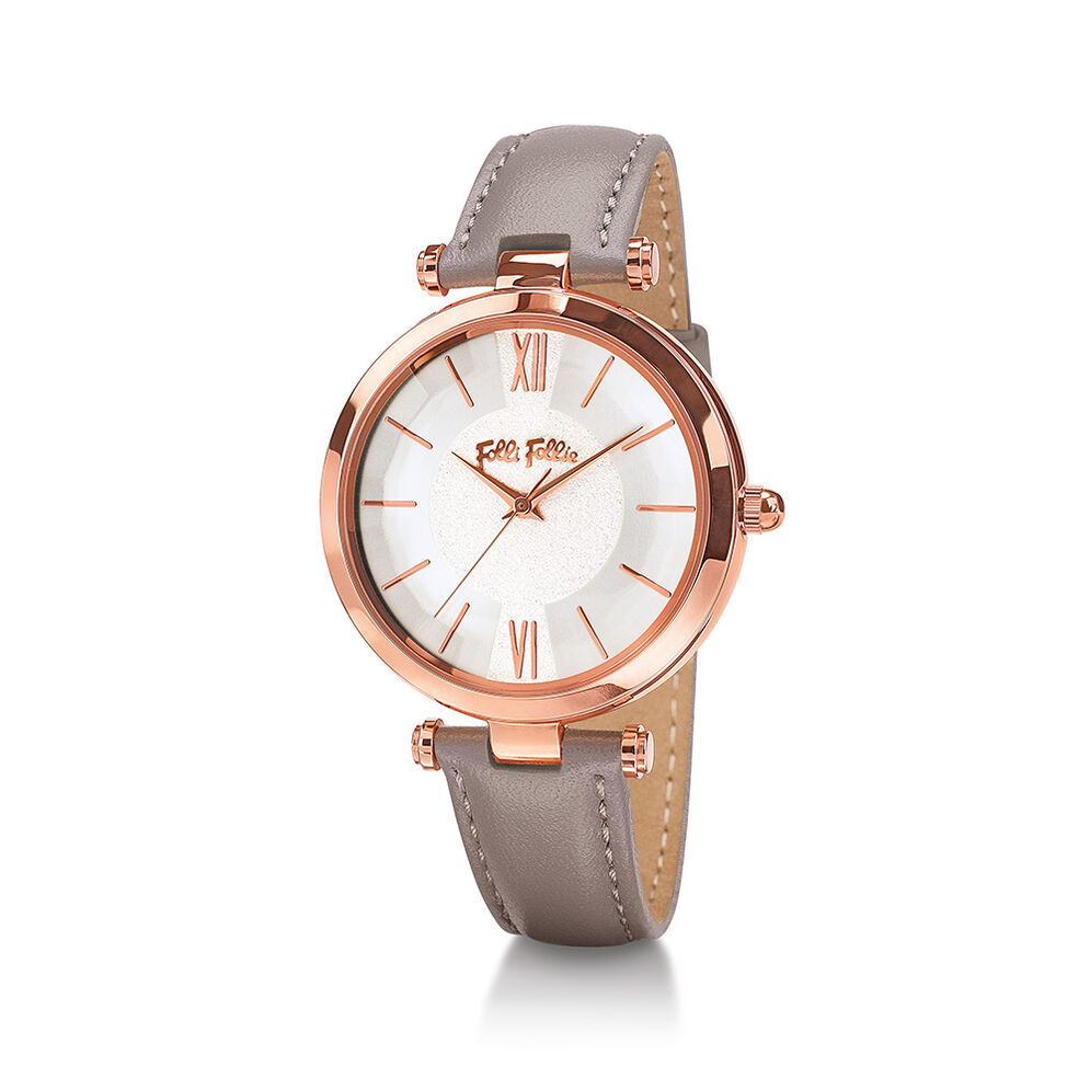 Lady Bubble Rose Gold Plated Leather Watch , Gray, hires