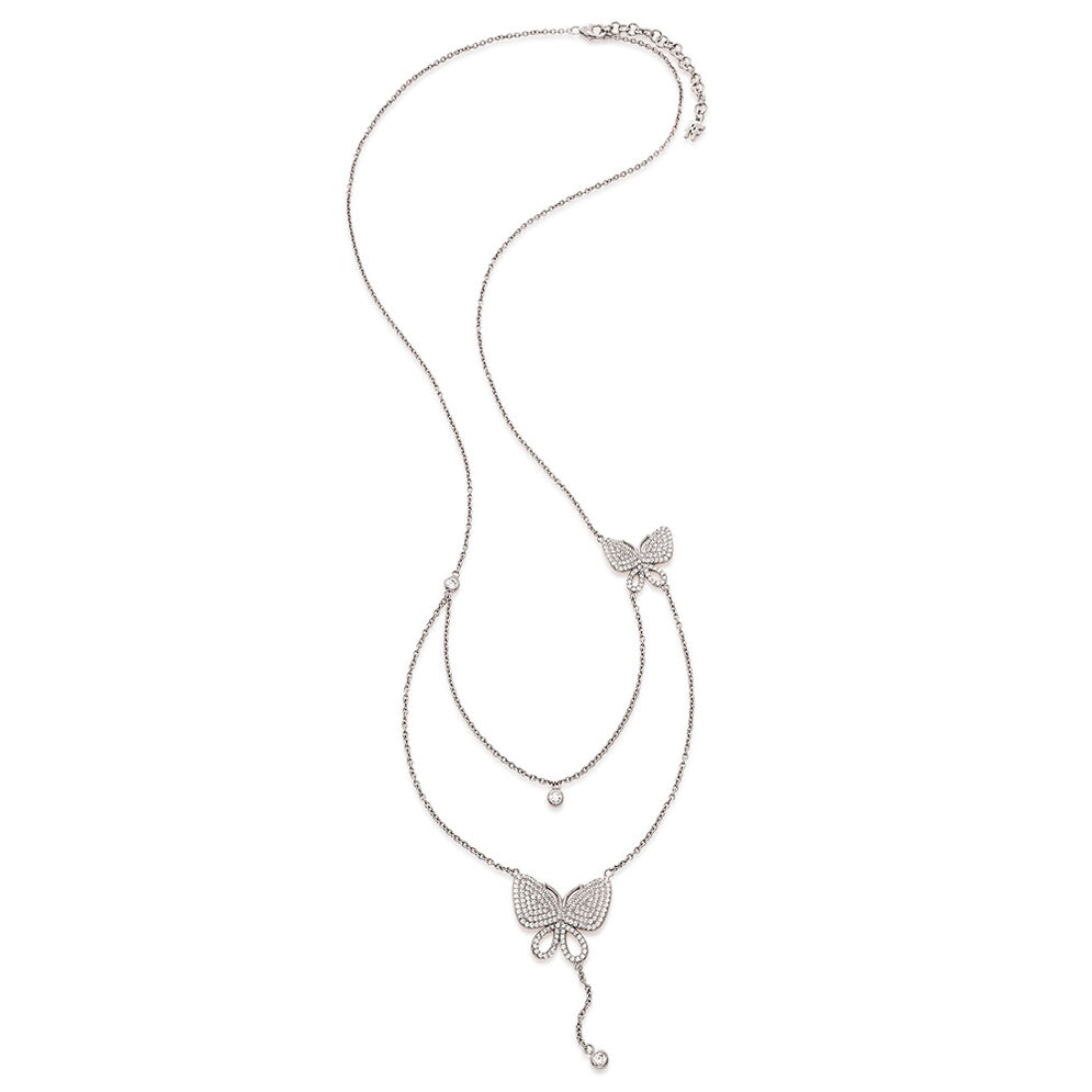 Wonderfly Rhodium Plated Long Necklace, , hires