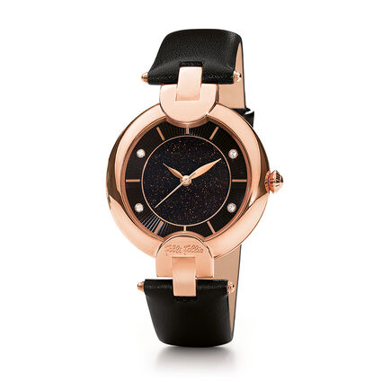 Sand Reflections Leather Strap Watch, Black, hires