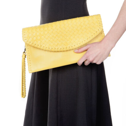 Twist Together Deatchable Long Strap Braided Trim Leather Evening Clutch Bag, Yellow, hires