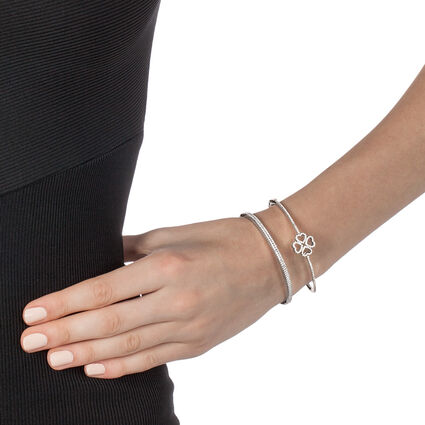 Miss Heart4Heart Rhodium Plated Cuff Bracelet, , hires