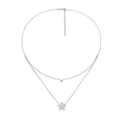 Fashionably Silver Stories Rhodium Plated Short Necklace, , hires