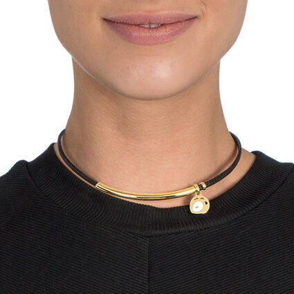 FF Talisman Yellow Gold Plated With Synthetic Cord Short Necklace, , hires