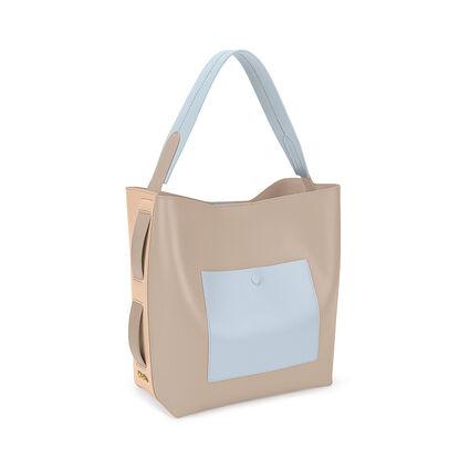 Twist & Turn Two-Tone Shoulder Bag, Beige, hires