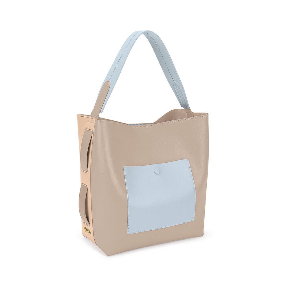 Twist And Turn Two-Tone Shoulder Bag, Beige, hires
