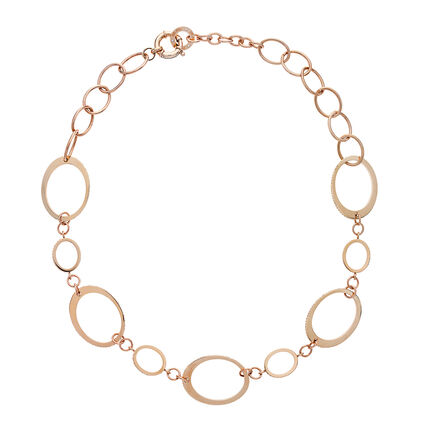 Classy Rose Gold Plated Champagne Κρυστάλλινες Πέτρες Κολιέ, , hires