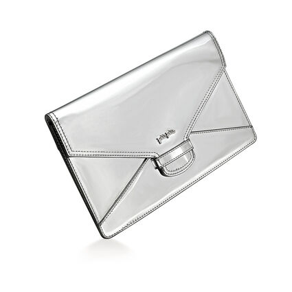 Metallic Love Envelope Evening Clutch Bag, Silver, hires