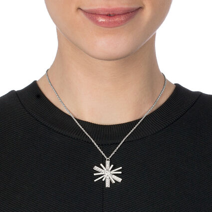 Star Flower Rhodium Plated Large Motif Short Necklace, , hires