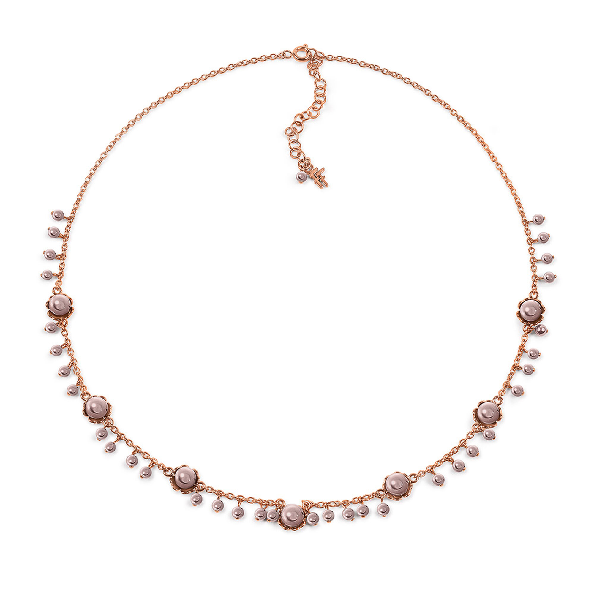 Grace Flair Rose Gold Plated Dirty Pink Pearls Short Necklace, , Hires