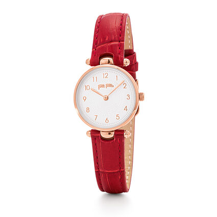 Lady Club Small Case Leather Watch, Dark Red, hires