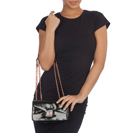 Metallic Love Detachable Chain Strap Shoulder Bag, Black, hires