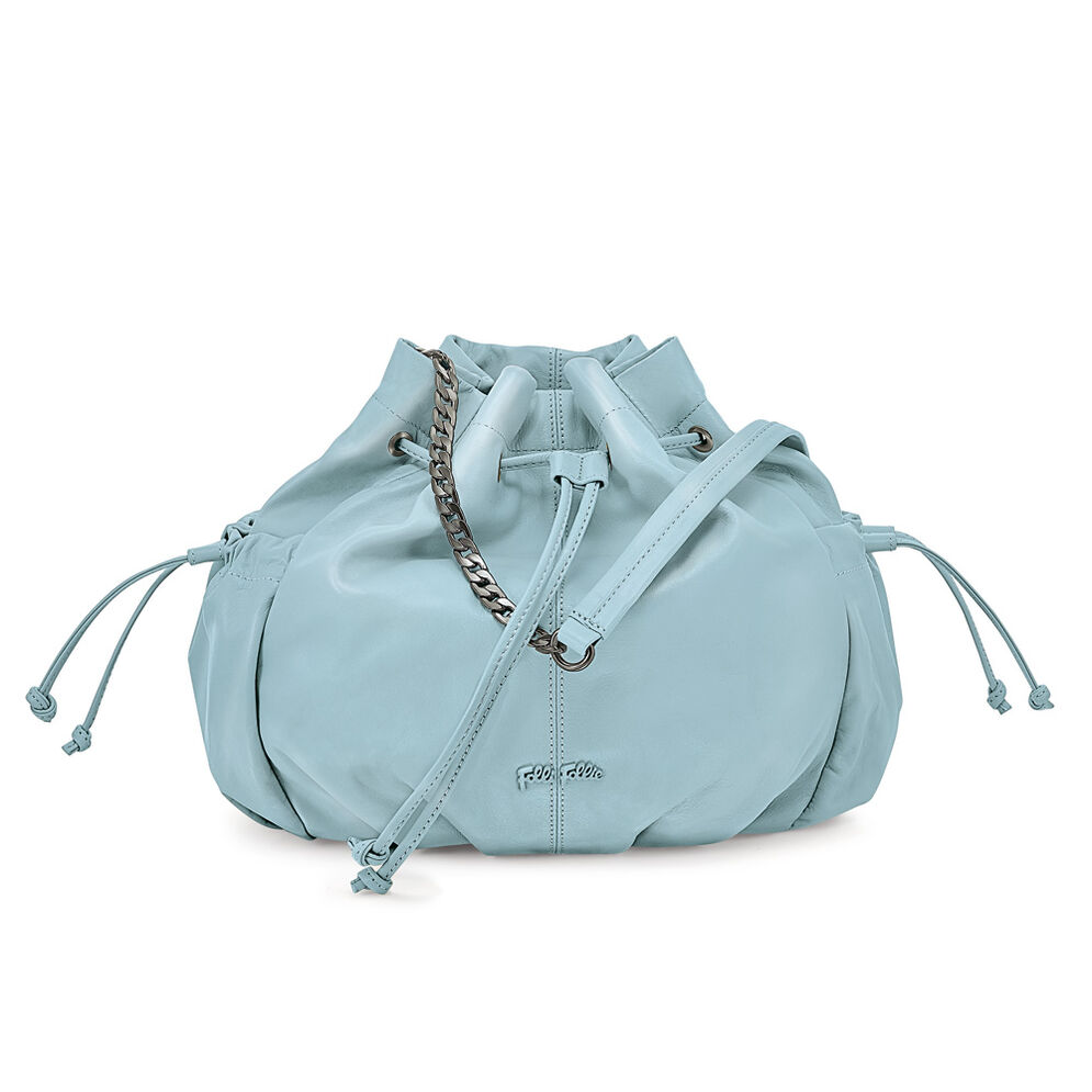 Buggy Large Leather Bucket Shoulder Bag, Blue, hires
