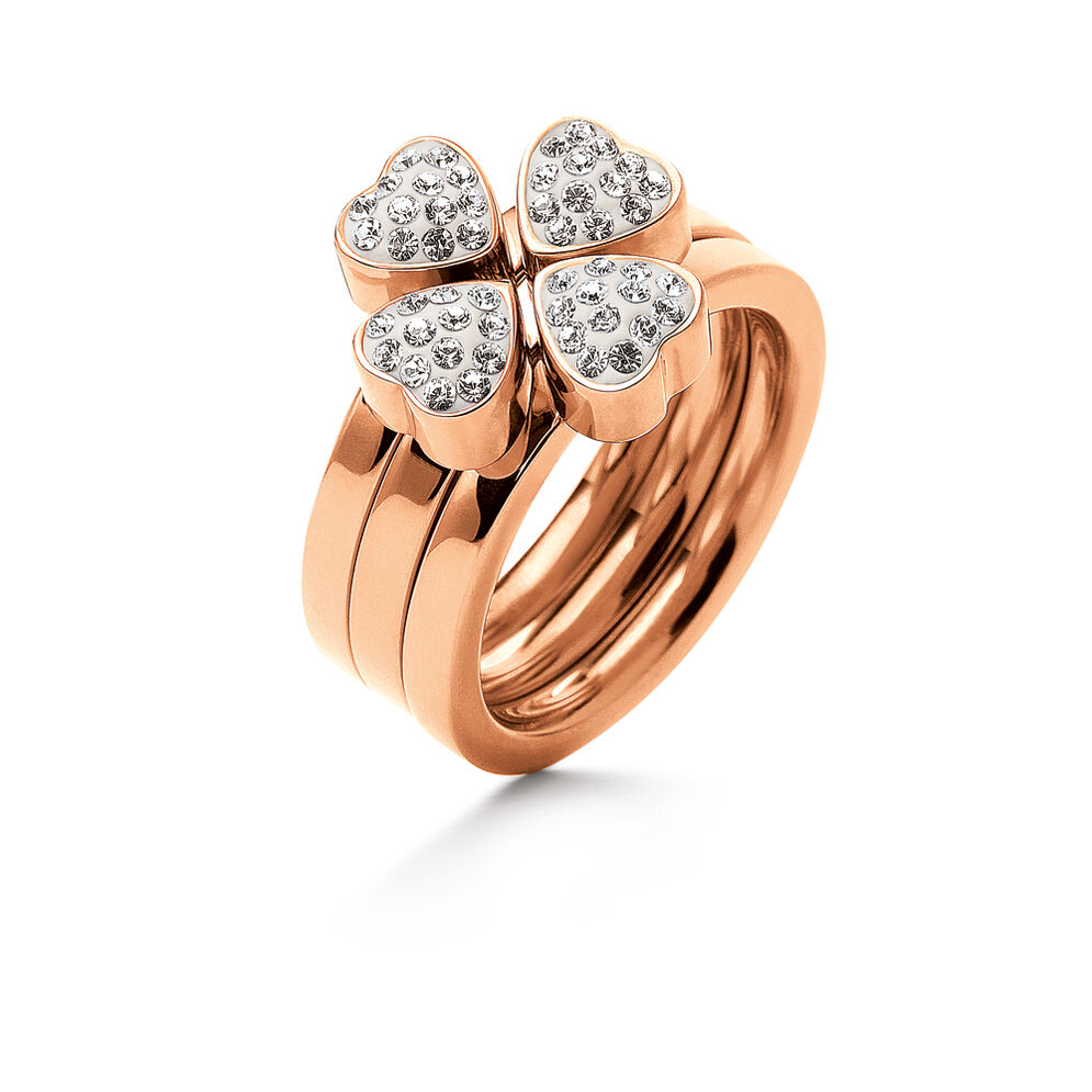 Heart4Heart Rose Gold Plated Pave Clear Crystal Stone Set Ring, , hires