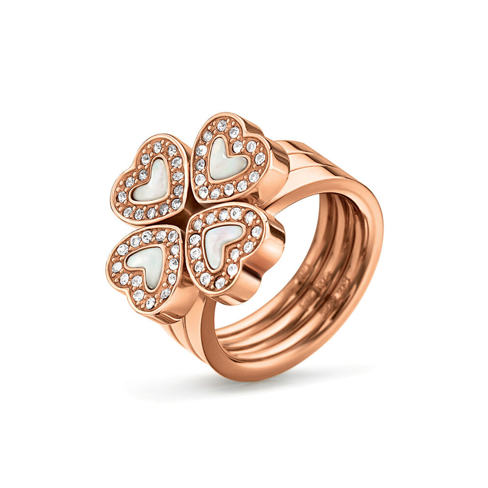 Heart4Heart Rose Gold Plated Mother Of Pearl & Clear Crystal Stone Set Ring, , hires