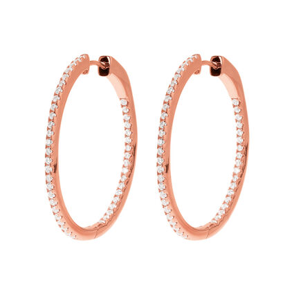 Fashionably Silver Essentials 18kt Rose Gold Vermeil Small Hoop Earrings, , hires