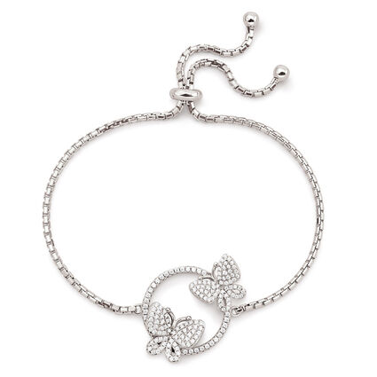 Wonderfly Rhodium Plated Adjustable Bracelet, , hires