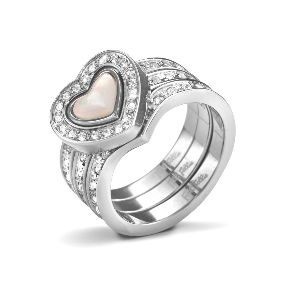 Playful Hearts Silver Plated Mother Of Pearl & Clear Crystal Stone Set Ring, , hires