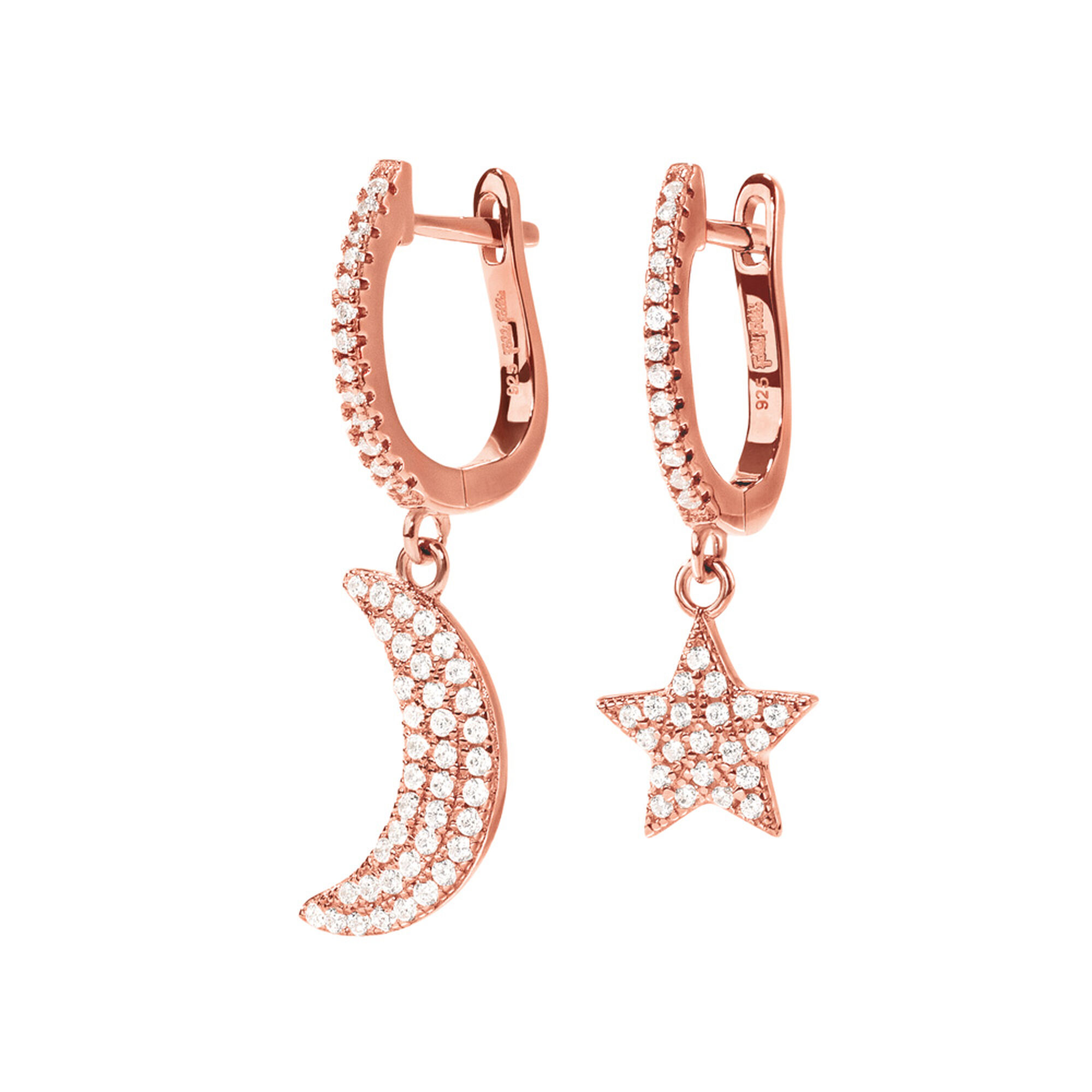 Folli Follie Charm Mates Rose Gold Plated Earrings