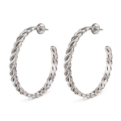 Apeiron Silver Plated Hoop Earrings, , hires