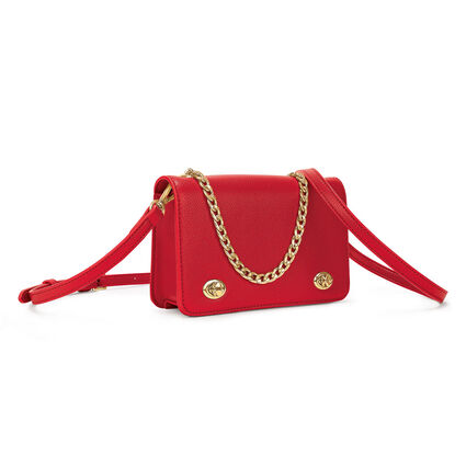 Twin Lock Crossbody Bag, Red, hires