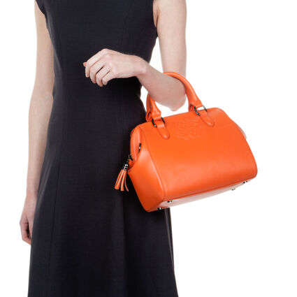 Santorini Flower Detachable Long Strap Leather Handbag, Orange, hires