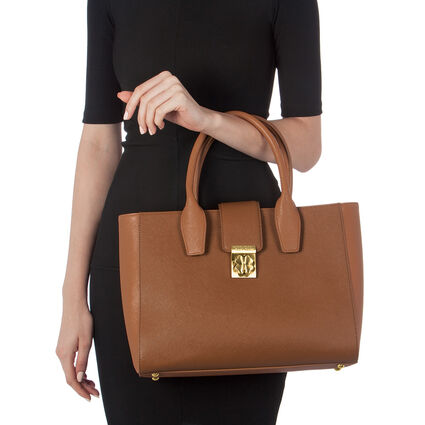 Heart4Heart Two-Tone Handbag, Dark Camel, hires