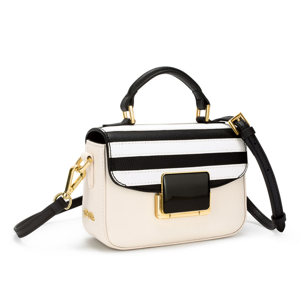 Club Riviera Small Leather Stripes Handbag , Black, hires