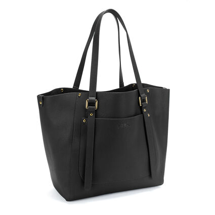 Fleur Riviera Tote Leather Shoulderbag, Black, hires