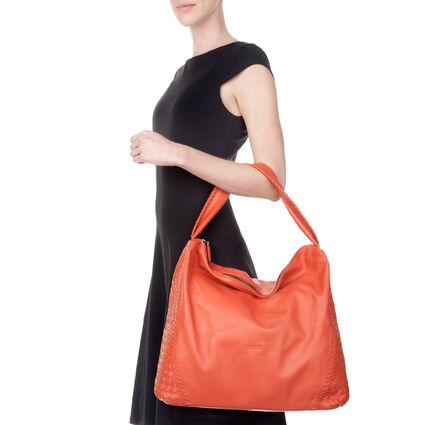 Twist Together Large Braided Trim Leather Shoulder Bag, Orange, hires