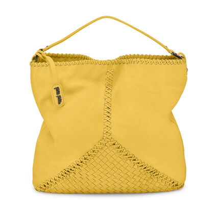 Twist Together Braided Trim Leather Shoulder Bag, Yellow, hires