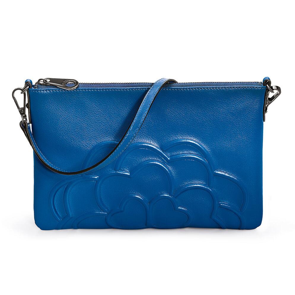 Santorini Flower Detachable Strap Leather Evening Bag, Blue, hires