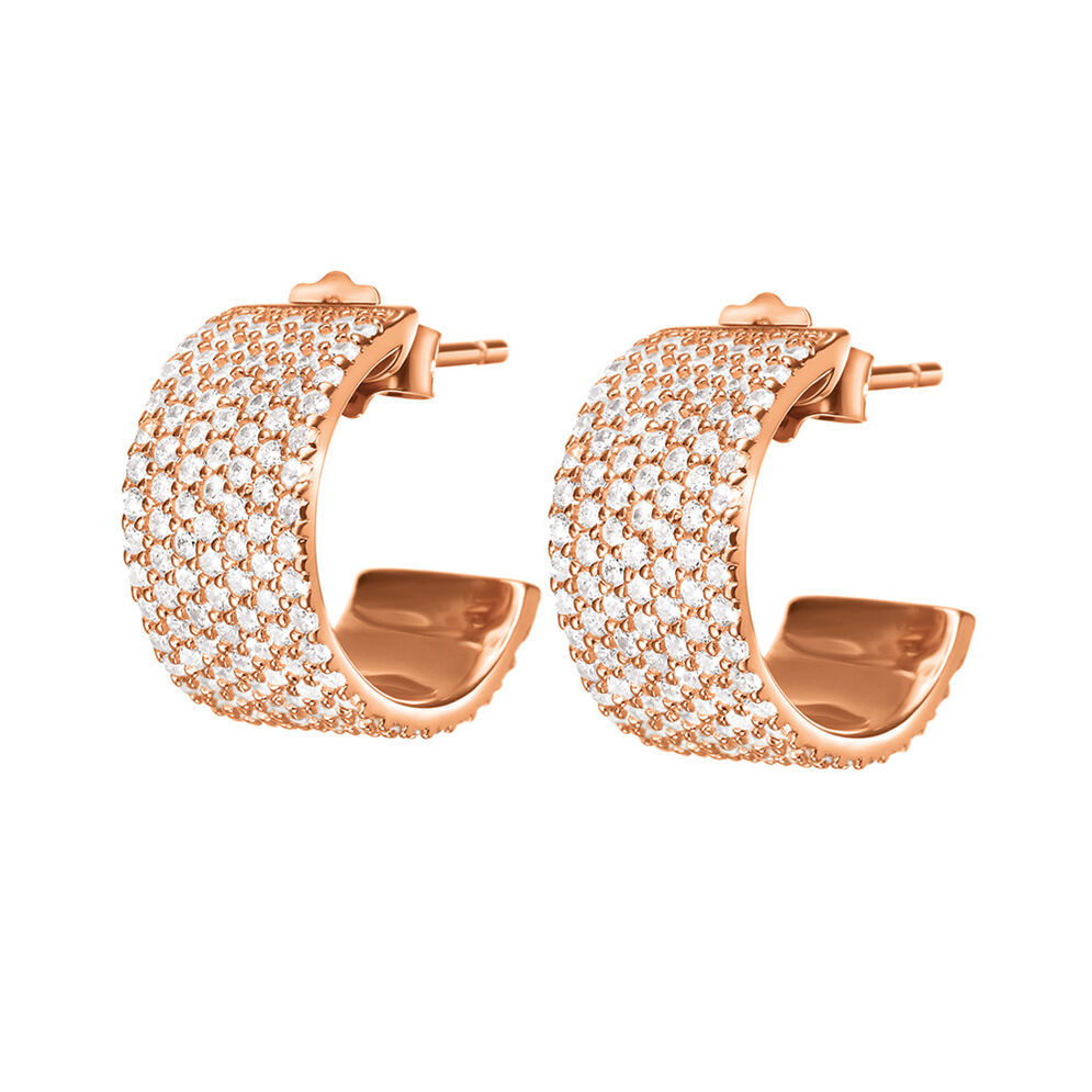 Fashionably Silver Essentials Rose Gold Plated Κοντά Σκουλαρίκια, , hires
