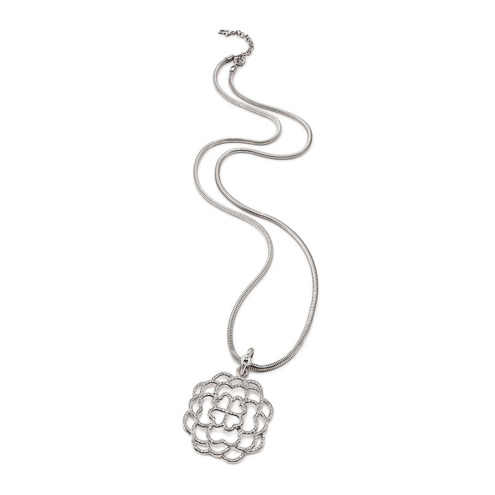 Santorini Flower Silver Plated Clear Crystal Stone Snake Chain Long Necklace, , hires