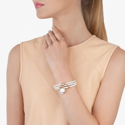 Elements Rose Gold Plated White Round Enamel White Bracelet, , hires