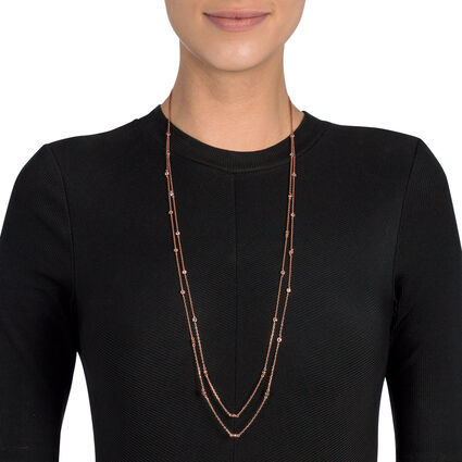 Fashionably Silver Essentials 18kt Rose Gold Vermeil Long Necklace, , hires