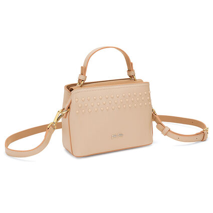 Studded Beauty Mini Tσάντα Xειρός με extra pouch, Beige, hires