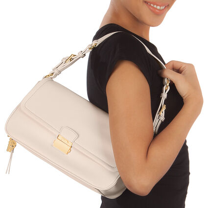 Vintage Chic Adjustable Strap Baguette Shoulder Bag, White, hires