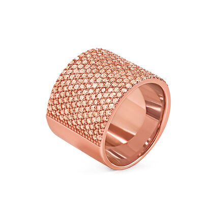 Fashionably Silver Essentials Rose Gold Plated Band Δαχτυλίδι, , hires