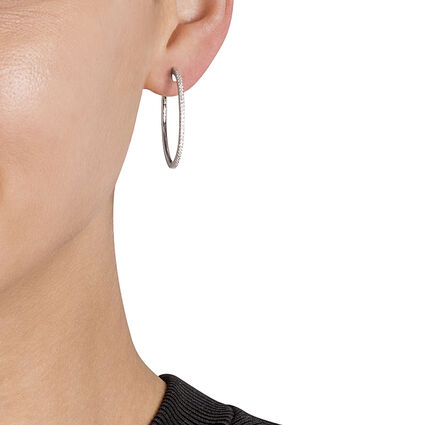 Fashionably Silver Essentials Rhodium Plated Medium Hoop Earrings, , hires