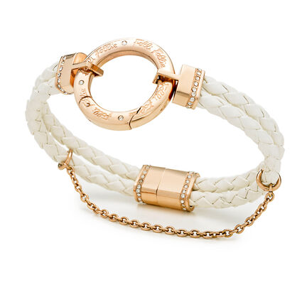 Follie Di Fiori Rose Gold Plated Double Row White Bracelet, , hires