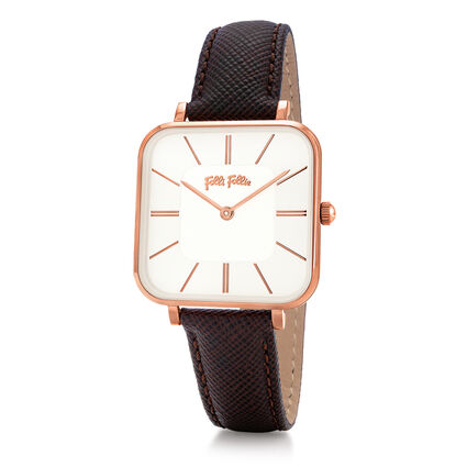Timeless Bonds Medium Square Case Leather Watch , Brown, hires