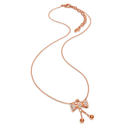 Bow Rose Gold Plated Champaign Crystal Stone Short Necklace, , hires