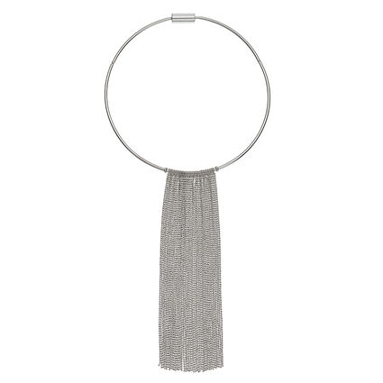 Glow Rays Silver Plated Chocker Style With Fringe Short Necklace, , hires