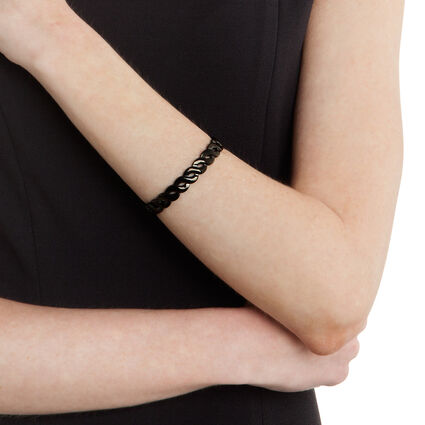 Apeiron Black Plated Thick Plait Cuff Bracelet, , hires