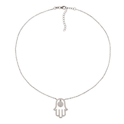Fashionably Silver Luck Rhodium Plated Short Necklace, , hires