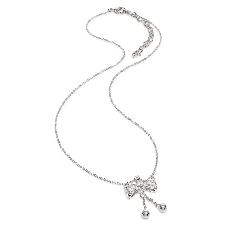 Bow Silver Plated Clear Crystal Stone Short Necklace, , hires