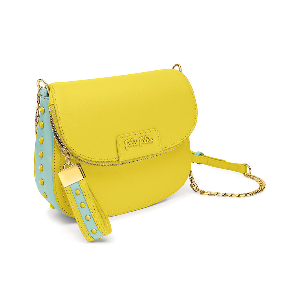 Studded Beauty Chain Strap Crossbody Bag, Yellow, hires