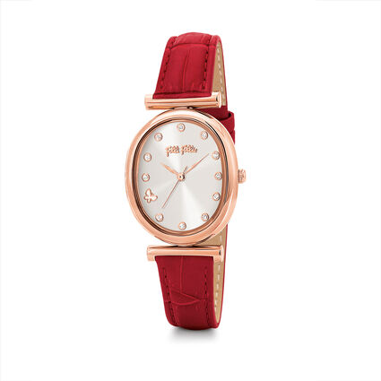 Wonderfly Oval Case Leather Watch, Red, hires